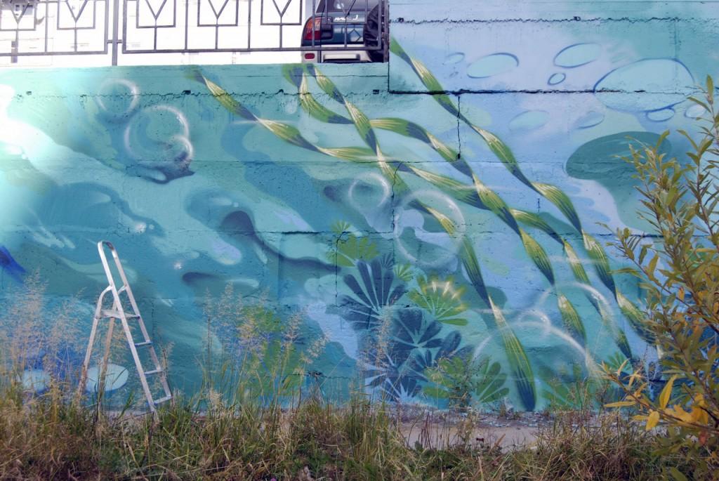 Второй день росписи стены